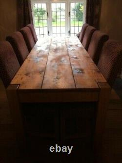 Large Indigo Wooden Dining Table and 8 upholstered chairs