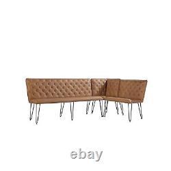 Large Tan Corner Dining Bench Set with Studded Back BUN/FOL101924/77524