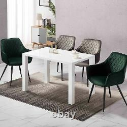 Large White Dining Table and Chairs Armchair Upholstered Seat Sturdy Metal Leg
