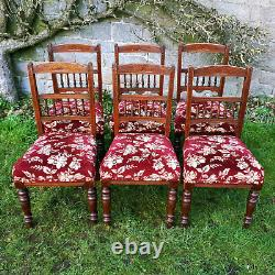 Late Victorian Set of 6 Walnut Upholstered Dining Chairs C1890