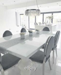 Light Grey Velvet Upholstered Round Back Dining Chair with Silver Chrome Legs UK