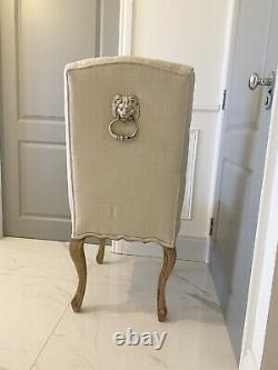 Lion Knocker Cream Grey Upholstered Linen Fabric Solid Wood Oak Dining Chair