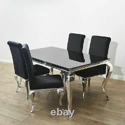 Louis Black Velvet High Seat Dining Chairs with Stainless Steel Chrome Legs Chic