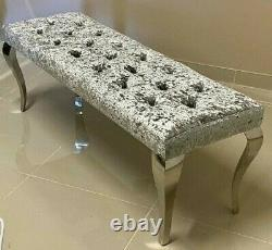 Louis Chrome Dining Bench Seat Upholstered Buttoned Silver Crushed Velvet 1.4 m