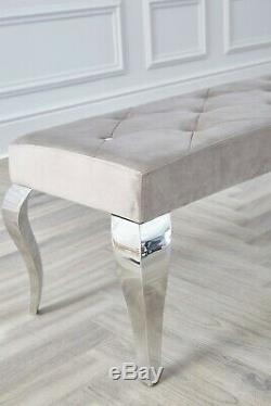 Louis Chrome Dining Bench Seat Upholstered Buttoned Velvet Grey Cream Black 1.3m