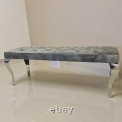 Louis Chrome Leg Dining Bench Seat Upholstered Buttoned Grey Brushed Velvet 1.4m
