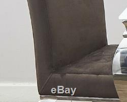 Louis Dining Chair Upholstered Mink Brown Padded Seat Fabric Chairs Metal Legs