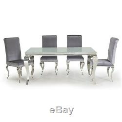 Louis Pair of Silver Velvet Dining Chairs with Mirrored Legs Vida L Lui-111-SL