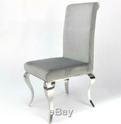 Louis Velvet Grey Dining Chairs Metal Legs Upholstered Fabric Premium Padded UK