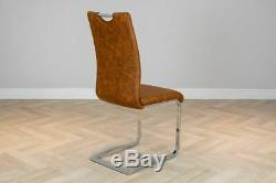 Luv Chairs' Set of 4 Modern Tan Chrome Frame Upholstered Leather Dining Chairs