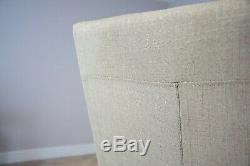Luv Chairs' Set of 6 x High Back Natural Cream Fabric Upholstered Dining Chairs