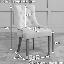 Luxury Grey Fabric Scoop Back Dining Chair Natural Oak Legs Upholstered D111