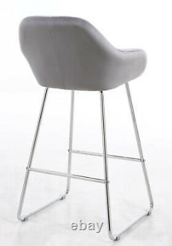 MAGALUF GREY Velvet High Bar Chairs Stool Kitchen/Dining/Breakfast Bar Chairs