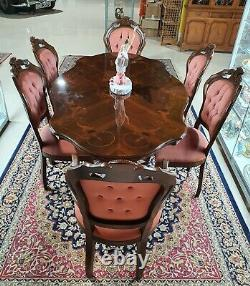 Mahogany Dining Table with Inlay Gloss Top and Six Upholster Chairs with Carving