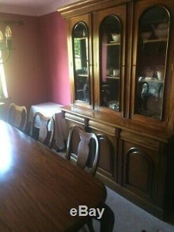 Mahogany Queen Anne style Dining Table and Eight Upholstered Chairs