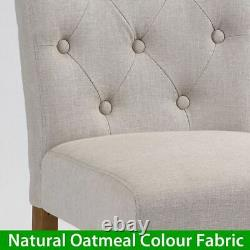 Marbury Natural Oatmeal Fabric Dining Chair with Oak Legs Upholstered D-301