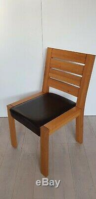Marks & Spencer Sonoma solid oak leather upholstered dining room chairs x 4