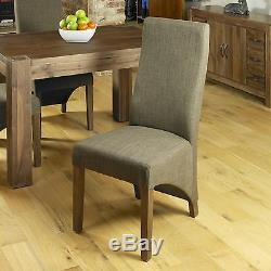 Mayan solid dark wood walnut furniture set of six upholstered dining chairs