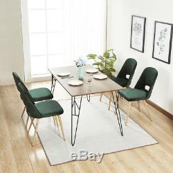 Mcombo 4 x Dining Chair Upholstered Kitchen Recliner Velvet Green