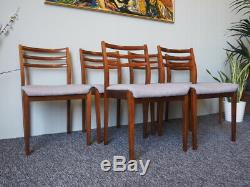 Mid Century 6 Danish Dining Chairs Teak Grey Upholstered Seats UK DELIVERY