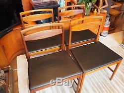 Mid Century Danish Teak Set Of 4 Dining Chairs New Upholstered Black Vinyl Retro