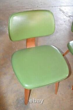 Mid Century Green Upholstered Wood Dining Chairs by Thonet, Set of 6