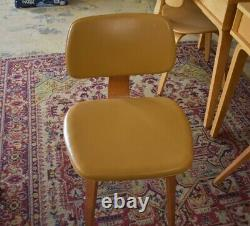 Mid Century Tan Upholstered Wood Dining Chairs by Thonet, Set of 4