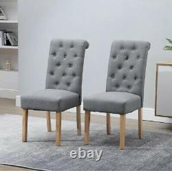 Modern 2x Grey Dining Chairs High Back Fabric Tufted Upholstered Dining Room