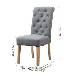Modern 2x Tufted Dining Chairs Fabric Upholstered High Back Dining Room Grey