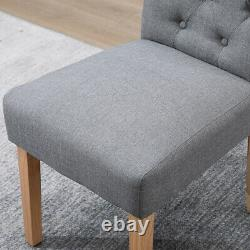 Modern 4x Grey Dining Chairs High Back Fabric Tufted Upholstered Dining Room