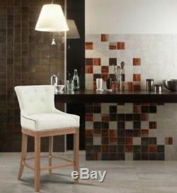 Modern Design Bar Stool High Dining Chair Cream Fabric Luxury Kitchen Pub Seat