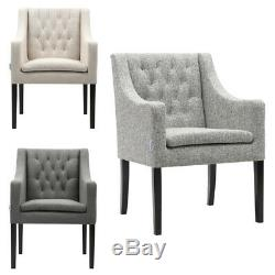 Modern Fabric Button Upholstered Accent Dining Chair Occasional Lounge Armchair