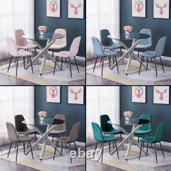 Modern Nova Dining Table + 4Pcs Chairs Set Velvet Padded Seat Dining Room Clear