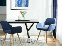 Modern Upholstered Set of 2 Dining Chairs Cobalt Blue Fabric Wooden Legs Chicago