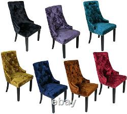 Multi Colour Crushed Velvet Knocker Back Dining Chairs Button Fabric Wood Legs