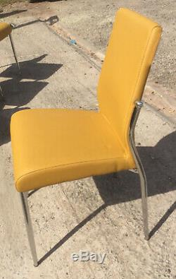 NEW 4 X Wayfair Mustard Upholstered Dining Chairs Very Nice Good Quality Stack