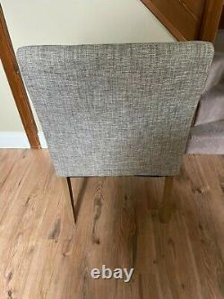NEXT Dining Chairs 4. Boucle Weave Light Dove Upholstery