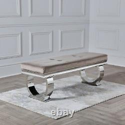 NICHES Arianna 130cm Dining Bench Velvet Upholstered Oyster Cream Chrome Base