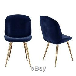 Navy Blue Upholstered Velvet Dining Chairs with Gold Legs Set of 2 Je JNN001