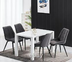 New 120cm Dining Table and 6 Chairs Velvet Upholstered Chairs Black Metal Leg UK