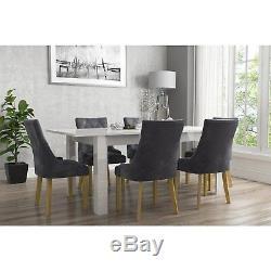 New Charcoal Dark Grey Modern Kaylee Premium Luxury Pair of Velvet Dining Chairs