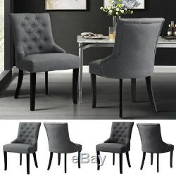 New Set of 2 Modern Fabric Upholstered Dinning Chairs Large Padded Seat Chair UK
