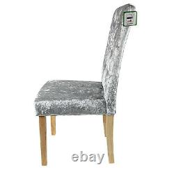 New Silver Crushed Velvet Dining Chair Solid Wood Legs Diamond Back Grey Fabric