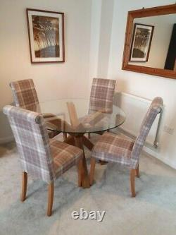 Next 4-Seater Dining Set Round Glass/Oak Table with 4 Upholstered Chairs