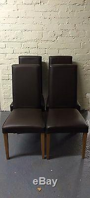 Next Premium Real Leather & Solid Oak Upholstered Dining Chairs X4 RP£299each