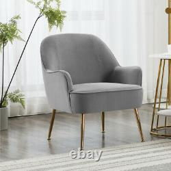 Nordic Metal Leg Velvet Accent Tub Chair Wing Back Armchair Lounge Dining Chair
