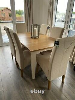 Oak Dining Table 6 Linen Upholstered Chairs. REDUCED TO £400