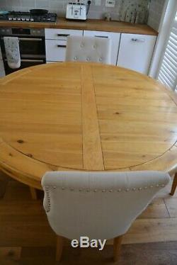 Oak Round Dining Table and 6 Upholstered Chairs