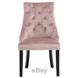 Occasional Tufted Dining Chairs Studded Knocker Velvet Upholstered Kitchen Chair