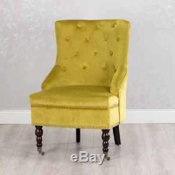 Ochre Mustard Yellow Velvet Antique Upholstered Occasional Bedroom Chair (gb455)